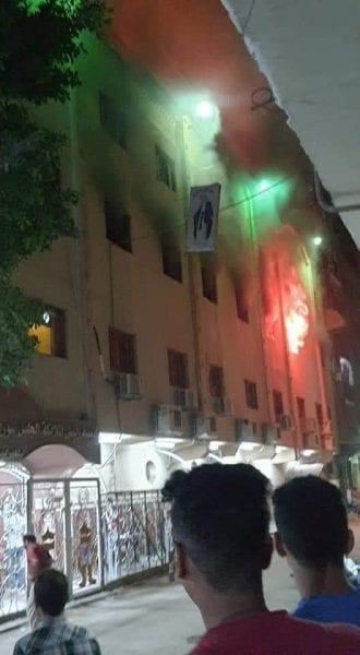 حريق ضخم بكنيسة الشهيد مارمينا والملاك سوريال بالعمرانية